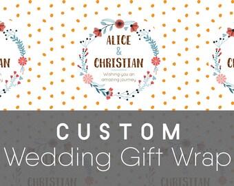 Custom Wedding Gift Wrapping Paper, Folk Emblem; Wedding Gift Wrap