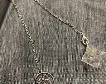 Clear Quartz Crystal Merkaba Sagittarius Pendulum