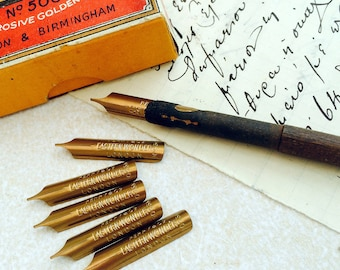 Eastern Wonder Pen dip pen nibs. 6 vintage unused nibs from Perry & Co., London and Birmingham.