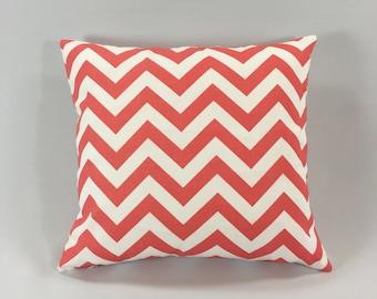 Coral Chevron Pillow Cover - Zig Zag Coral/White Print - Salmon Chevron Throw Pillow - Chevron Accent Pillow - Hidden Zipper - Custom Sizes