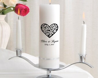 Personalized Wedding Unity Candle Set - Vintage Hearts - GC330 CP2