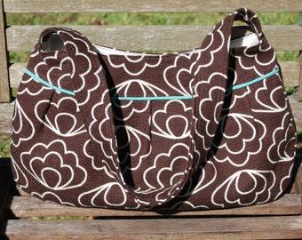 Organic Brown Retro-Modern Buttercup Bag, Purse, Handbag