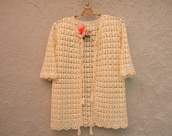 Cover lace crochet-ivory cotton cardigan with tassels-cover boho fashion cardigan-summer women's fashion sweater