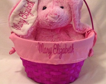 Embroidered Easter Basket and Bunny   Personalized Easter Basket    Personalized Easter Bunny   Embroidered Bunny   Easter Baskets for Girls