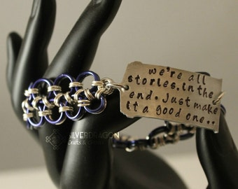"""Doctor Who Inspired """"We're All Stories..."""" Japanese Lace/Handstamped Bracelet"""