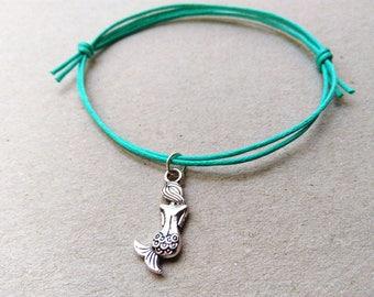 SALE -Silver Mermaid bracelet, Mermaid anklet or Mermaid necklace -waxed cotton cord -8 colors -Best Friends Bracelet -Mermaid Jewellery