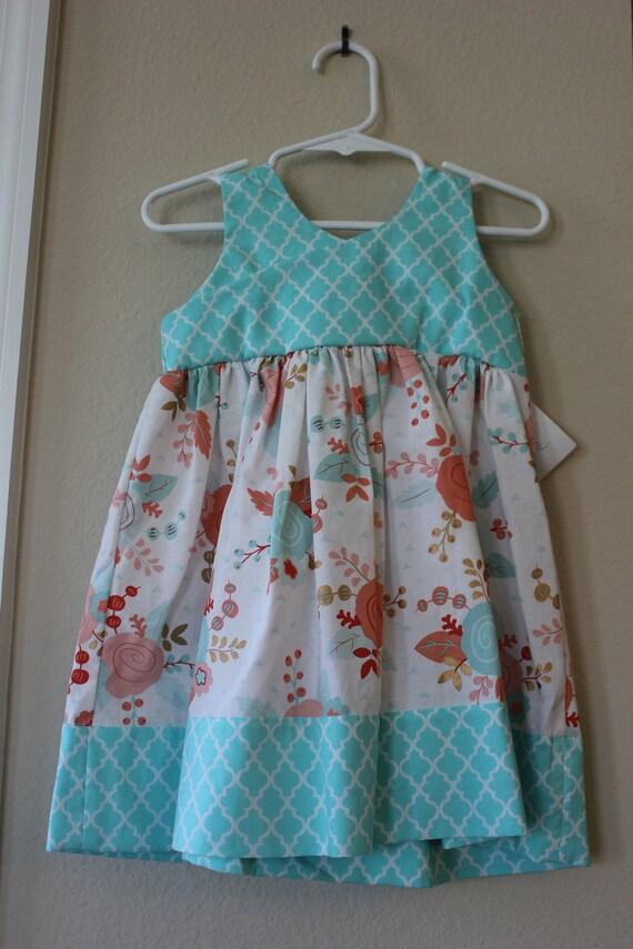 Girls Reverse Knot Dress, Handmade Dress, Floral Print Dress,Spring Easter Dress, Baby Dress, Toddler Dress, Tween Dress,Party Dress