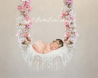Digital Backdrop Newborn Photography -  Floral Swing