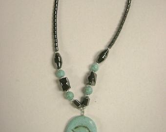 UNIQUE Egyptian Hematite Hand of Fatima Hamsa Necklace Hand Made in Egypt