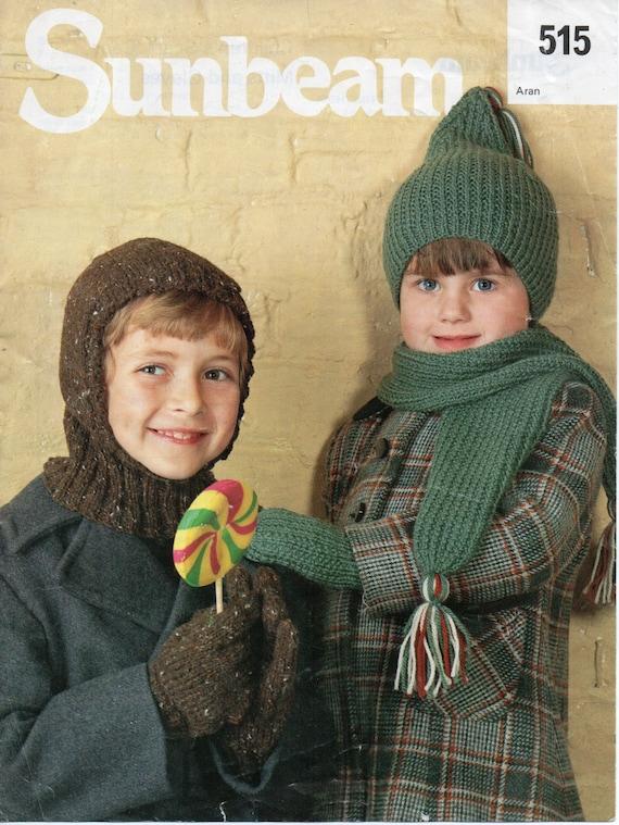 Childrens Hat Balaclava Scarf Gloves Mitts Knitting Pattern