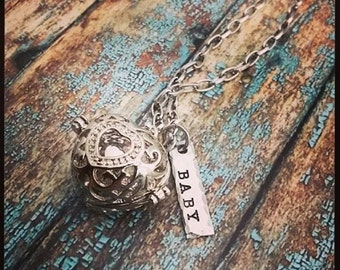 Personalized Hand Stamped Harmony Ball Necklace - Pregnancy Necklace - Maternity Jewelry - Pregnancy Gift Idea - Harmony Cage