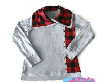 Wide neck grey and red and black Plaid sweater