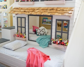 Layla's Ultimate Dollhouse Loft Bed, Bunk Bed or Triple Bunk Bed,  Optional dual use trundle, Slide with Storage or Staircase with Storage.