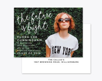 The Future is Bright Photo Graduation Announcement + Invitation Printable