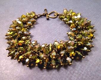 Cha-Cha Bracelet, Fire Polished Green Glass Beaded Bracelet, Brass Chain Bracelet, FREE Shipping U.S.