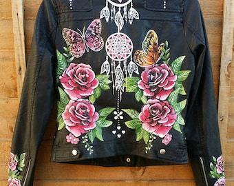 "Hand painted faux leather Jackets for weddings ""wifey""/birthdays/anniversaries"