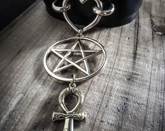 Gold Ankh 666 666 vegan black leather necklace