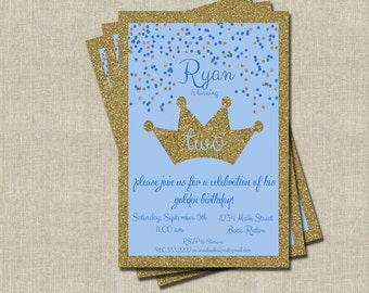 Boy Golden Birthday Invitations - Printable Digital File