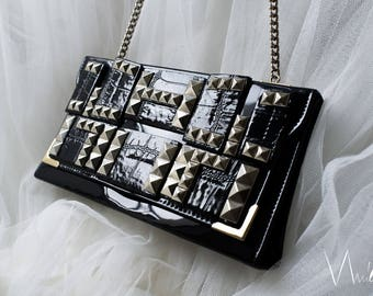 Vintage Recycle Black Clutch Silver Studs Unique Formal Handbag Patent Fancy Shoulder Bag Long Silver Tone Chain Glam Rock Party Evening