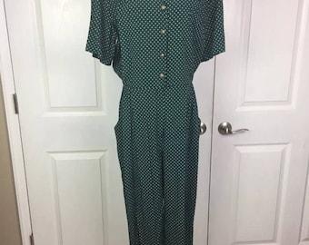 Vintage 1980s - S.L. Fashions Green Polka Dot Jumpsuit Sz 16
