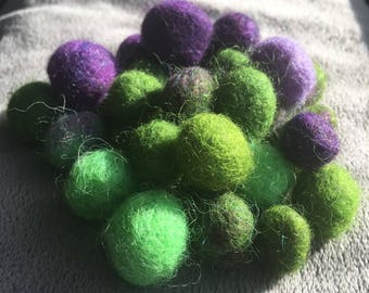 Felted Wool Beads - Green and Purple Assorted - Crafting wool beads