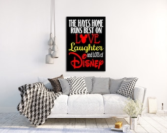 DISNEY HOME Runs on LOVE Laughter Art Print Canvas