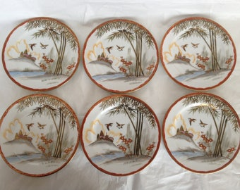 Six Kutani Porcelain Dessert Plates #246 Hand-Painted Japan Birds Bamboo and Temple Motif
