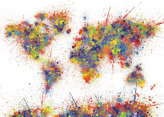 World map drawing splash colourful digital file gumiabroncs Gallery