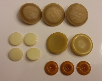 Vintage Tan, Ivory and Gold Buttons