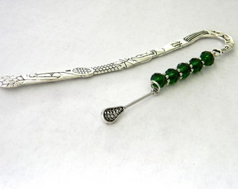 Lacrosse Bookmark with Dark Green Glass Beads Shepherd Hook Silver Sports Bookmark