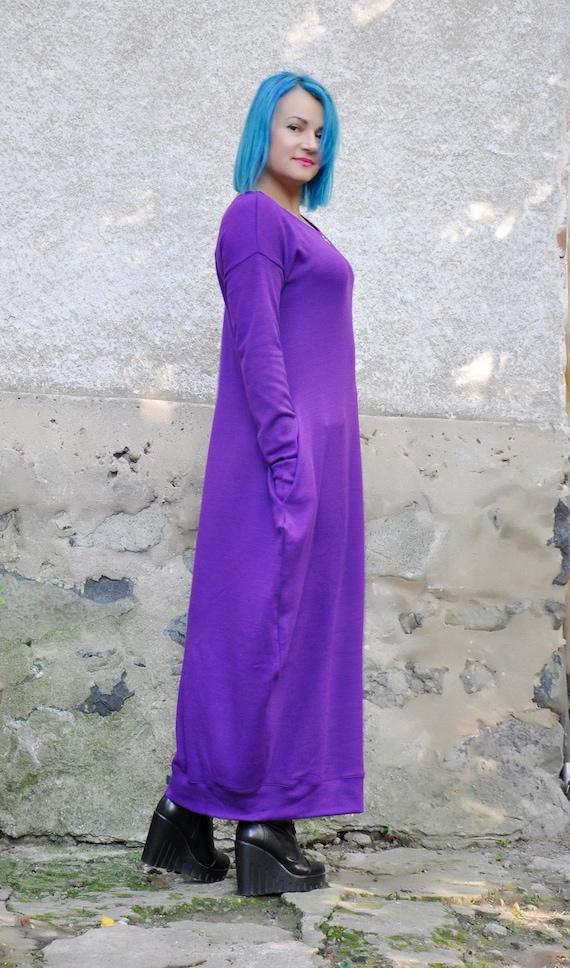 Maxi Woman winter Plus size dress tunic dress wool caftan cashmere Maxi tunic D0376 long Maxi dress tunic dress tunic size Purple Wool plus ZxaFnq