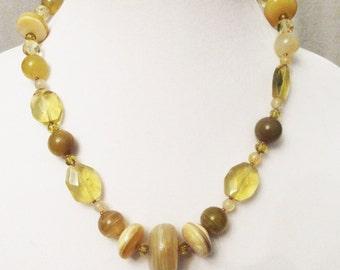 Garage...Yellow Onyx Agate Necklace, Yellow Peruvian Opal, Lemon Quartz, Citrine, Czech Crystal, Handmade Yellow Gemstone Necklace, Healing