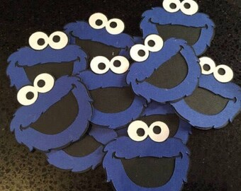 """4"""" COOKIE MONSTER Die Cuts, Birthday Party, Cookie Momster Decor, Sesame Street Birthday, Elmo Birthday, Scrapbook Cut Out"""