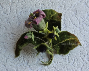 Belladonna Felt Brooch Felted Flower Pink Green Wool Flower Brooch