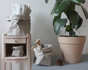 Grey bag, Paper sack, Paper bag storage, Grey washable paper, toy storage, kids room, planter, hamper, minimalistic, plastic or planet?