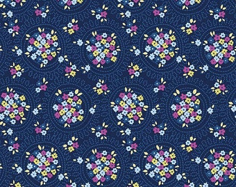 SALE Riley Blake Designs Blue Carolina by Christopher Thompson, The Tattooed Quilter C6594—NAVY Cluster - by the yard or you choose the size