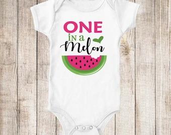 One in a Melon 1st Birthday Pink Green Watermelon Birthday Shirt