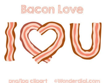 Bacon Clipart - Love Clip Art - I love Bacon Clipart - Valentines day Clipart Bacon Illustration