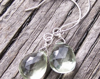 Green Quartz Faceted Briolette Earrings with Sterling Silver