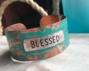 Blessed metal patina bracelet