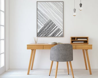 Geometric Print, Geometric Art, Black and White Stripes, Printable Art, Black and White Print, Minimalist Art, Printable Wall Art, Lines Art