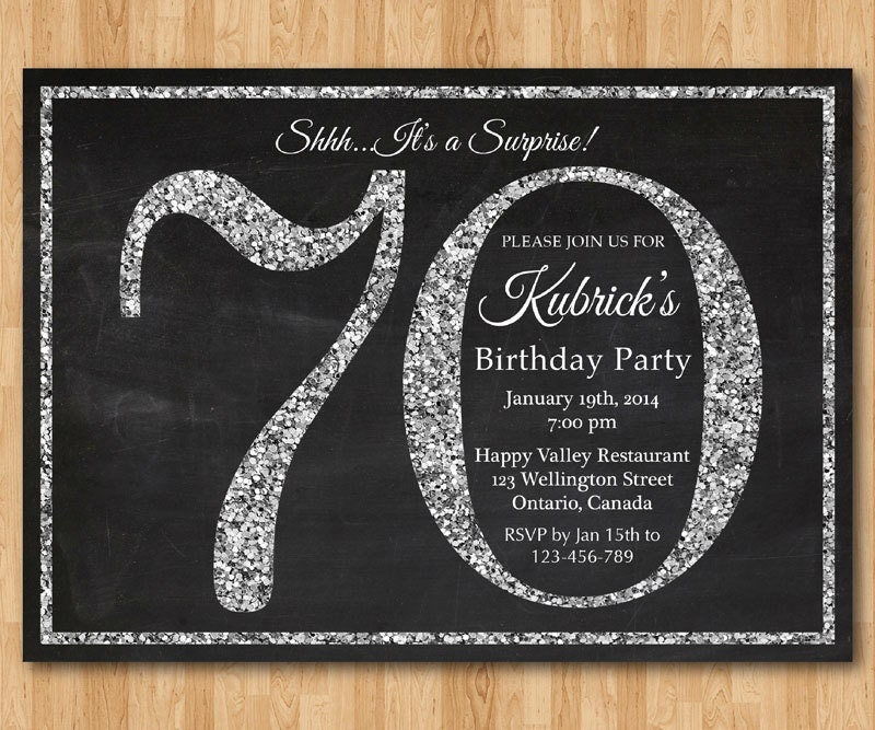 70th birthday invitation. Silver Glitter Birthday Party