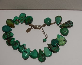 "Sterling Silver 8"" Adjustable to 9"" Inches Individually Knotted Turquoise Stone Bracelet"