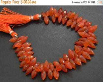 on sale Fine quality carnelian faceted dew drops briolette 8 inch strand