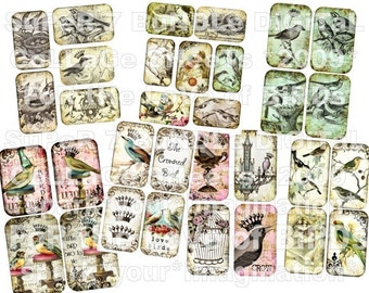 SuPeR 7 BUNDLE PACK FoR tHe LoVe of BiRDs aged vintage images digital collage sheets royal birds pedestals chandilier crowns altered art atc aceo handmade greeting card making supplies journals books hang tags