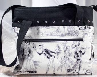 SHOULDER BAG. Tote bag. Skeletons. Skulls. 100 percent designer cotton.  Eyelets. Keyring. Black. White. Previously 26.50 GBP.