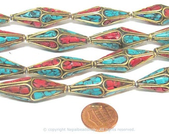 2 Beads - Long Bicone shape ethnic Nepal brass beads with turquoise coral inlay - 37 mm long - BD973