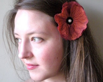 Coral Icelandic Poppy Clip- Your Choice of Hair Clip or Brooch- Embroidered Silk Flower Fascinator- Bright Coral with Burgundy Embroidery