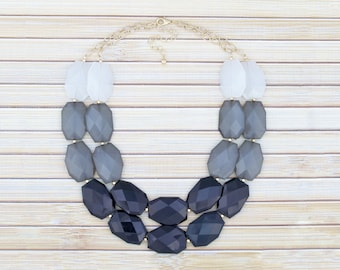 Black Statement Necklace, Black Gray White Ombre Necklace, Multistrand Big Bead Necklace, Chunky Layering Necklace, Formal Wedding Jewelry