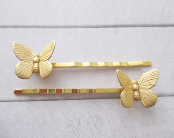 Butterfly bobby pins Gold Butterfly Hair Pins Gold Bobby Pins Brass Nature Wedding Bridesmaids Bridal Gifts Hair Accessories Girl